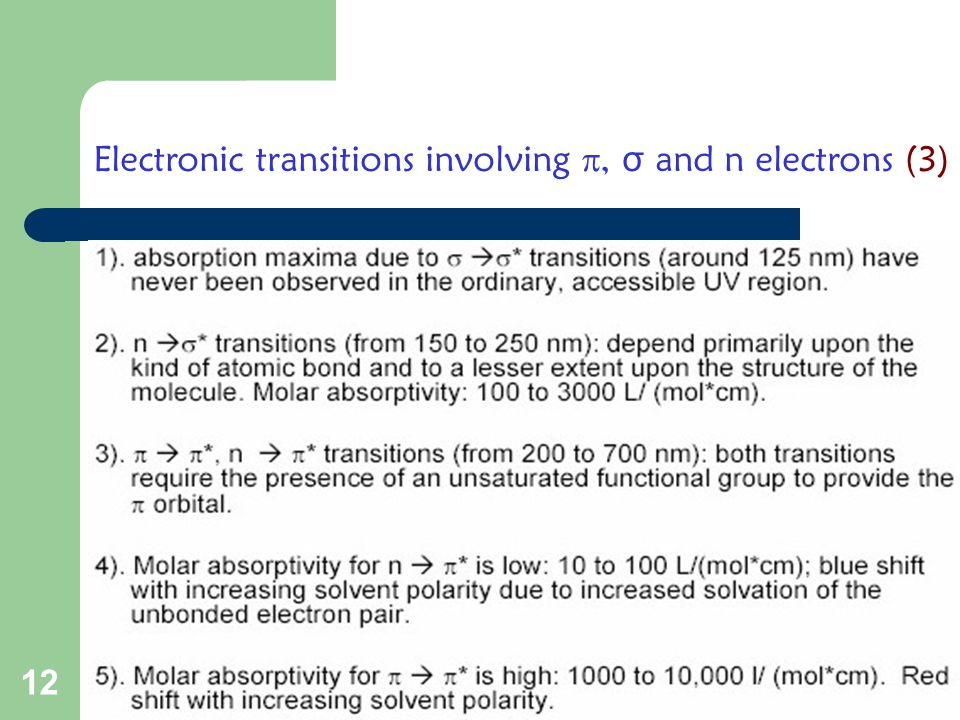 Electronic transitions involving , σ and n electrons (3)