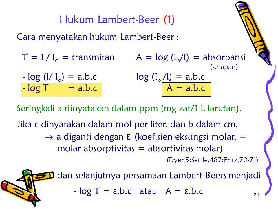 Hukum Lambert-Beer (1) Cara menyatakan hukum Lambert-Beer :