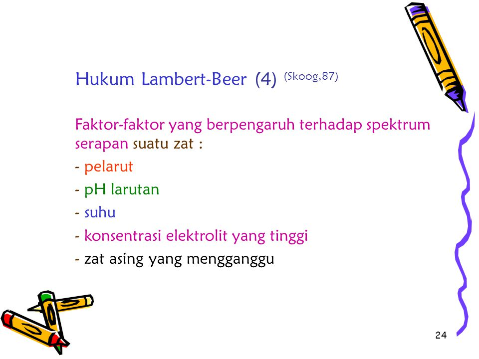 Hukum Lambert-Beer (4) (Skoog,87)