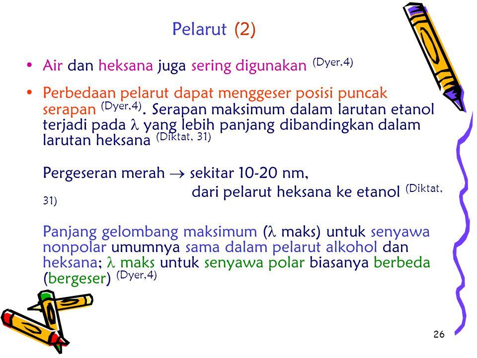Pelarut (2) Air dan heksana juga sering digunakan (Dyer,4)