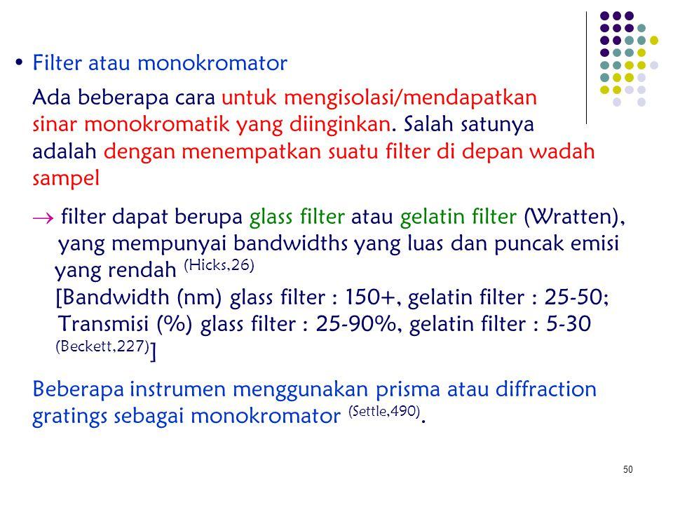• Filter atau monokromator