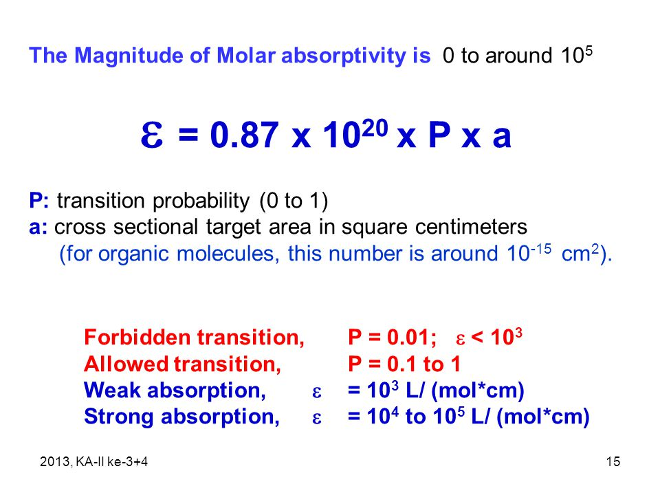 The Magnitude of Molar absorptivity is 0 to around 105