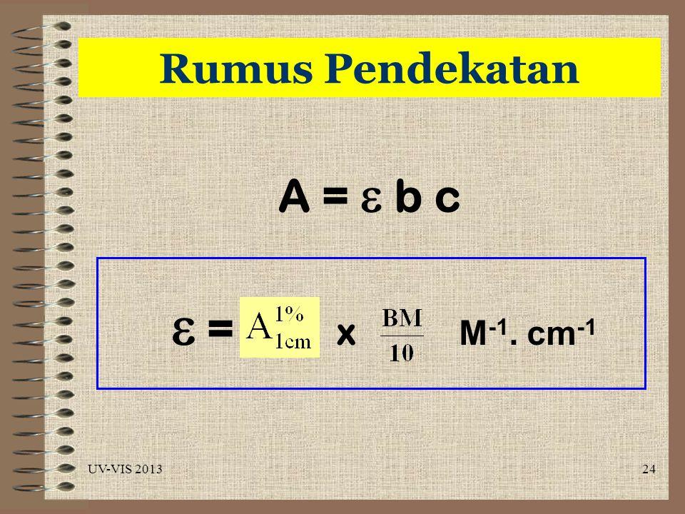 Rumus Pendekatan A =  b c  = x M-1. cm-1 UV-VIS 2013