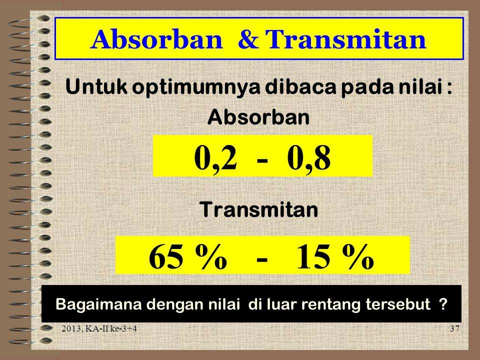 Untuk optimumnya dibaca pada nilai : Absorban Transmitan
