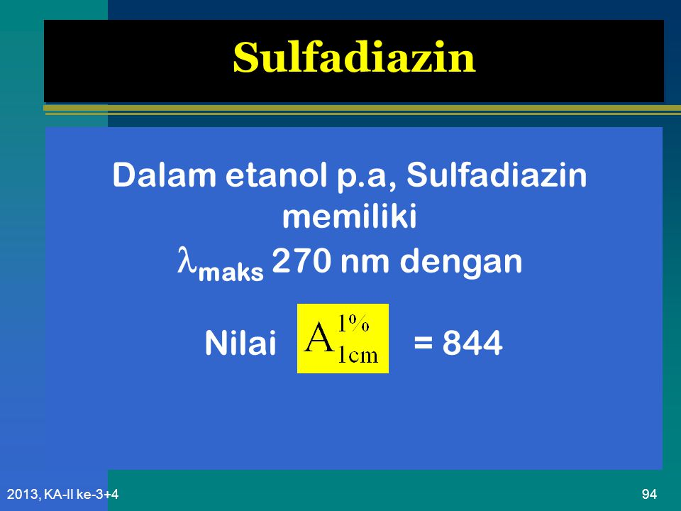 Dalam etanol p.a, Sulfadiazin