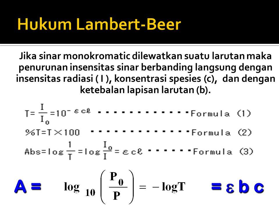 Hukum Lambert-Beer A = =  b c