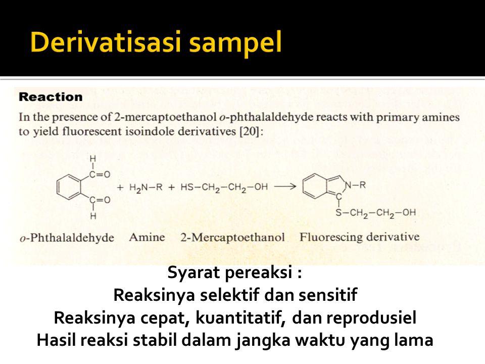 Derivatisasi sampel Syarat pereaksi : Reaksinya selektif dan sensitif