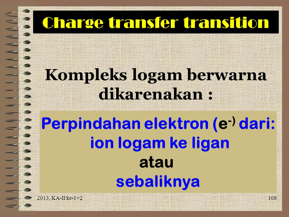 Charge transfer transition
