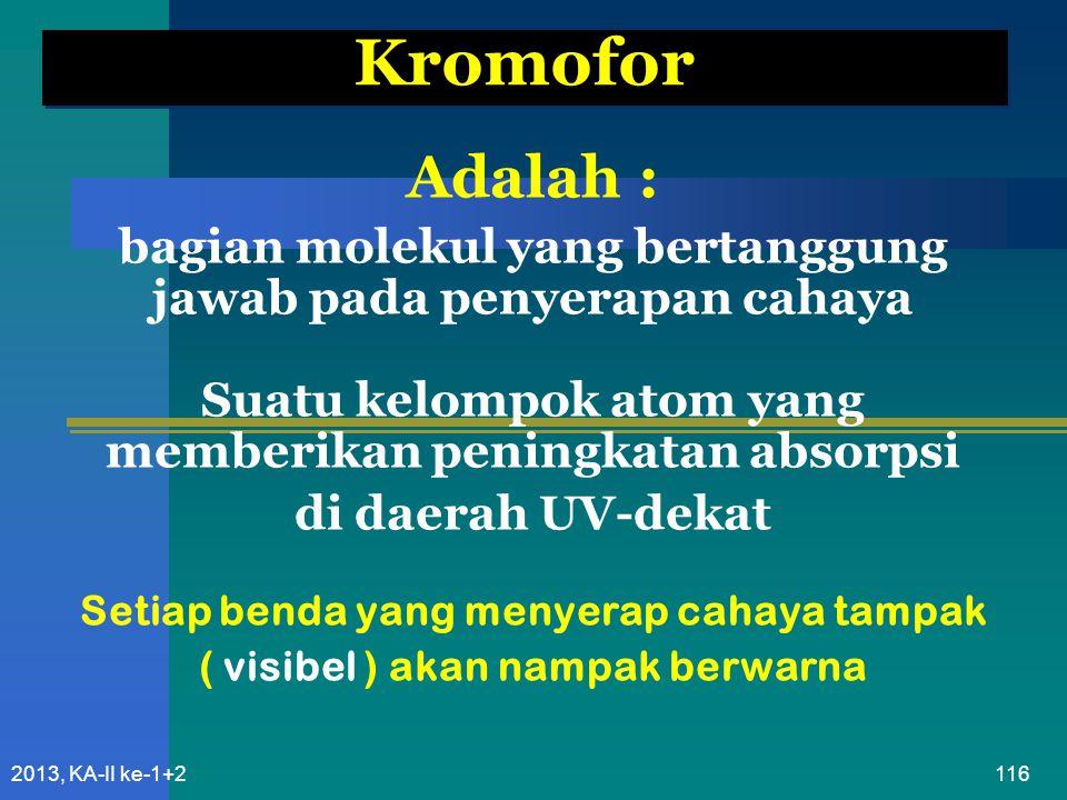 Kromofor Adalah : bagian molekul yang bertanggung jawab pada penyerapan cahaya. Suatu kelompok atom yang memberikan peningkatan absorpsi.