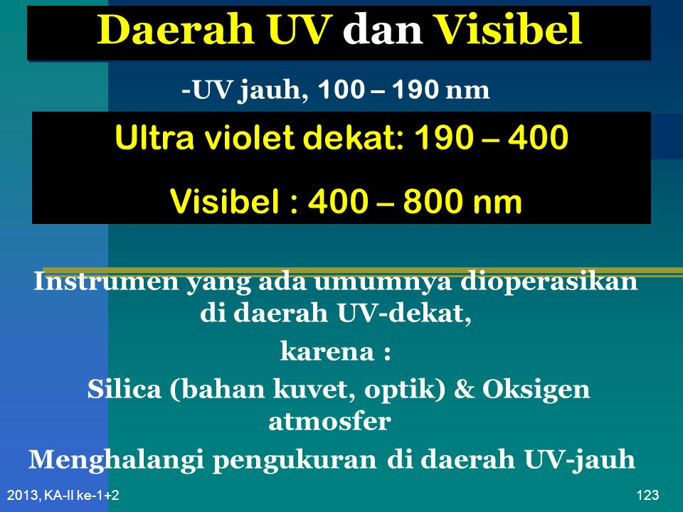 Daerah UV dan Visibel Ultra violet dekat: 190 – 400