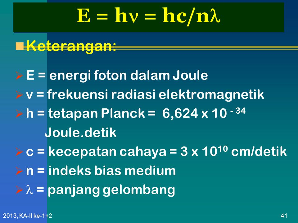 E = h = hc/n Keterangan: E = energi foton dalam Joule