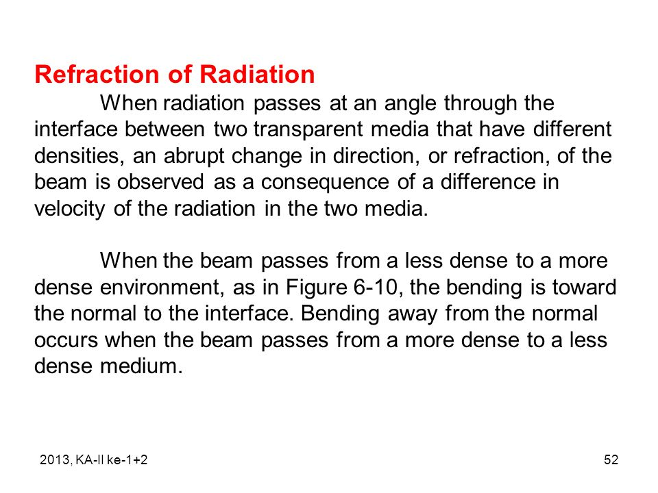 Refraction of Radiation