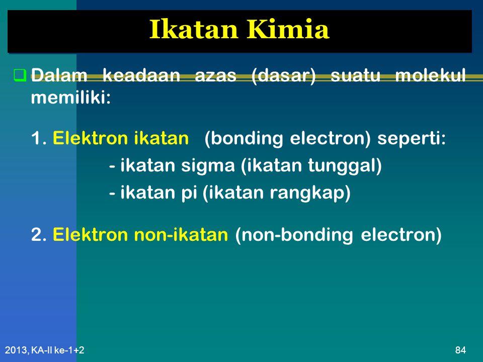Ikatan Kimia Dalam keadaan azas (dasar) suatu molekul memiliki: