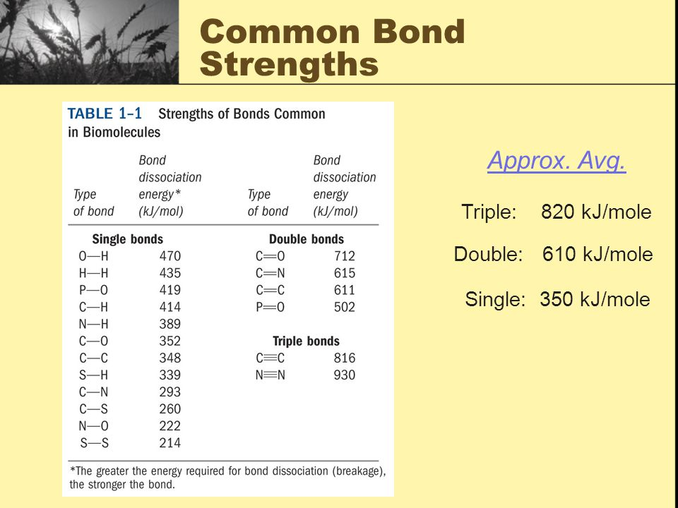 Common Bond Strengths Approx. Avg. Triple: 820 kJ/mole