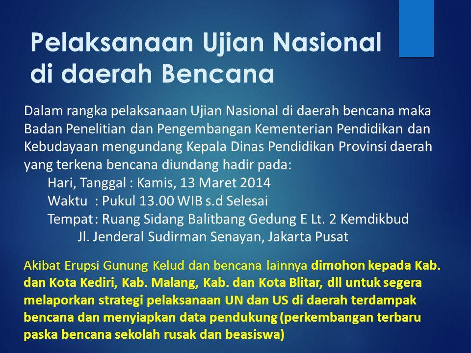 Pelaksanaan Ujian Nasional di daerah Bencana