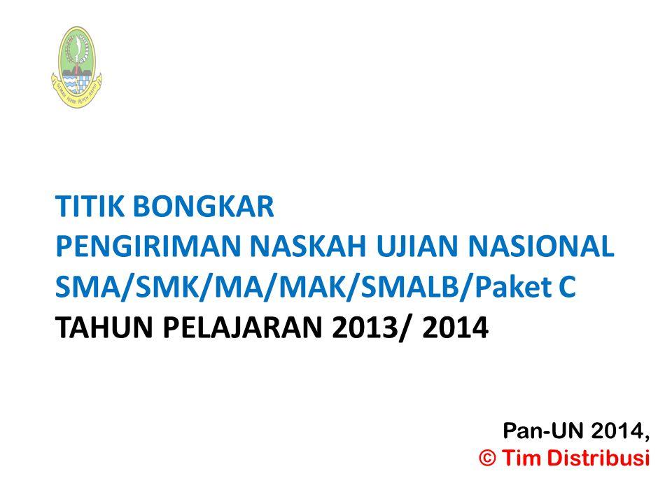 TITIK BONGKAR PENGIRIMAN NASKAH UJIAN NASIONAL SMA/SMK/MA/MAK/SMALB/Paket C TAHUN PELAJARAN 2013/ 2014
