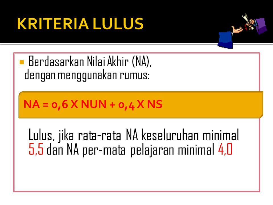 KRITERIA LULUS Berdasarkan Nilai Akhir (NA), dengan menggunakan rumus: