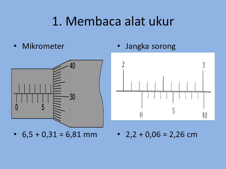 1. Membaca alat ukur Mikrometer 6,5 + 0,31 = 6,81 mm Jangka sorong