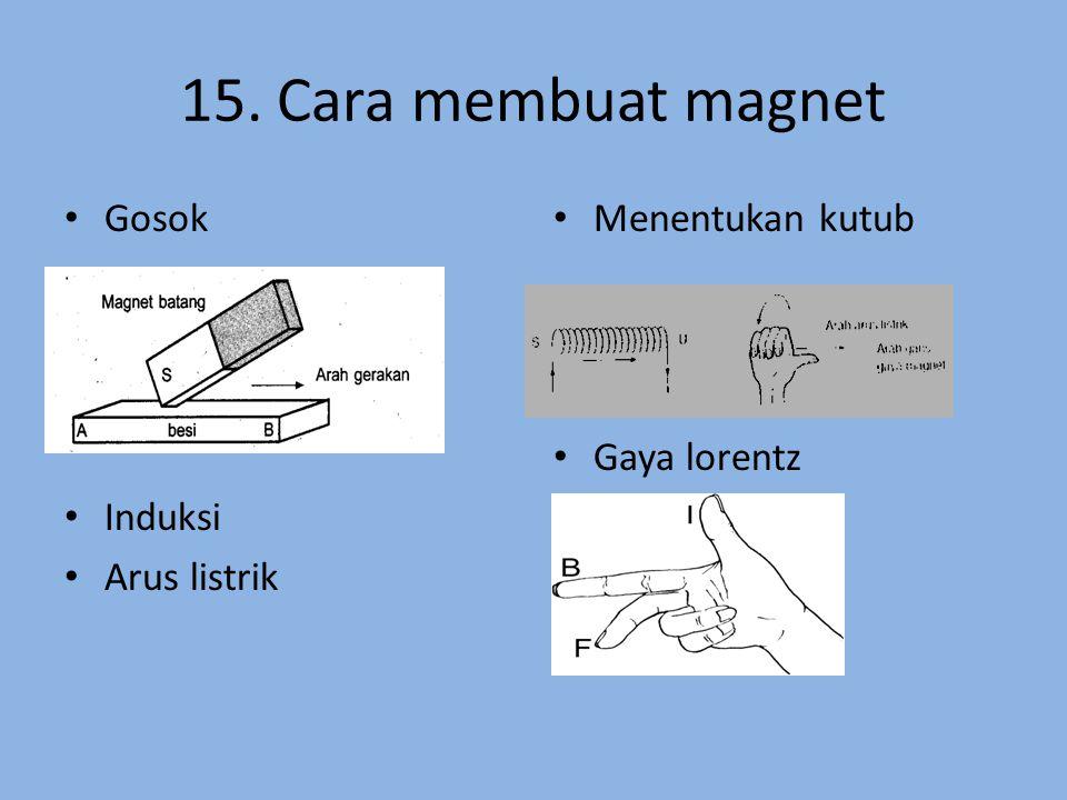 15. Cara membuat magnet Gosok Induksi Arus listrik Menentukan kutub