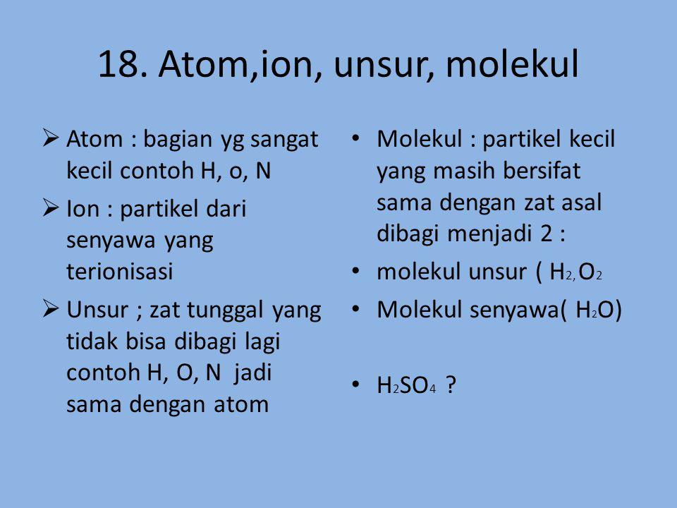 18. Atom,ion, unsur, molekul Atom : bagian yg sangat kecil contoh H, o, N. Ion : partikel dari senyawa yang terionisasi.
