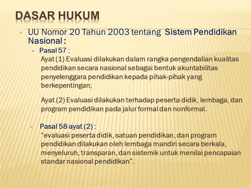 DASAR HUKUM UU Nomor 20 Tahun 2003 tentang Sistem Pendidikan Nasional : - Pasal 57 :