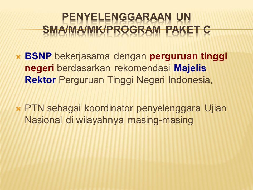 PENYELENGGARAAN UN SMA/MA/MK/PROGRAM PAKET C