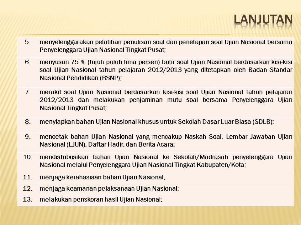 LANJUTAN 5. menyelenggarakan pelatihan penulisan soal dan penetapan soal Ujian Nasional bersama Penyelenggara Ujian Nasional Tingkat Pusat;