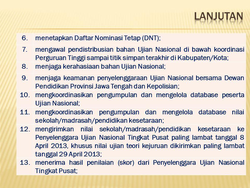 LANJUTAN 6. menetapkan Daftar Nominasi Tetap (DNT); 7.