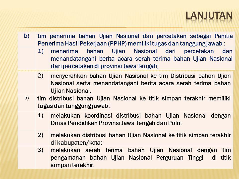 LANJUTAN b) tim penerima bahan Ujian Nasional dari percetakan sebagai Panitia Penerima Hasil Pekerjaan (PPHP) memiliki tugas dan tanggung jawab :