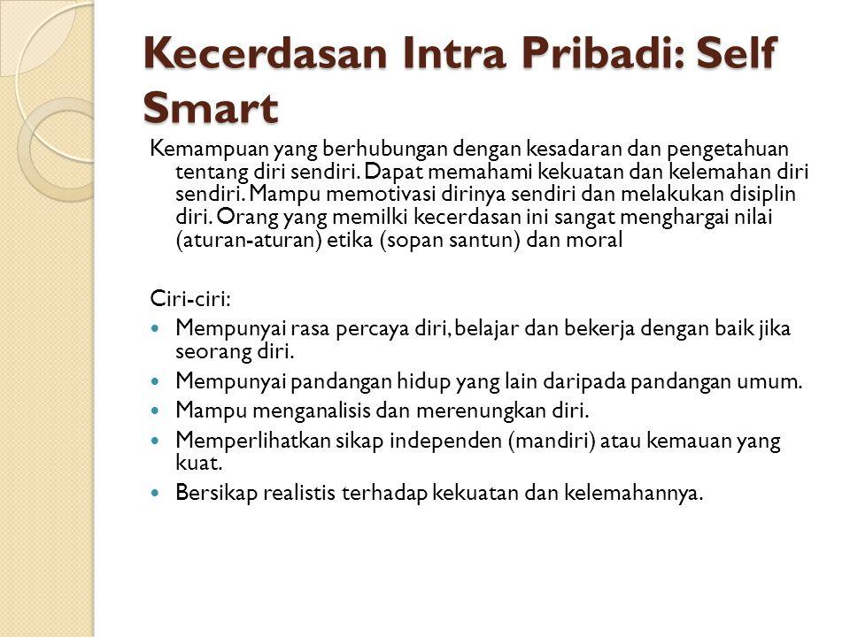 Kecerdasan Intra Pribadi: Self Smart