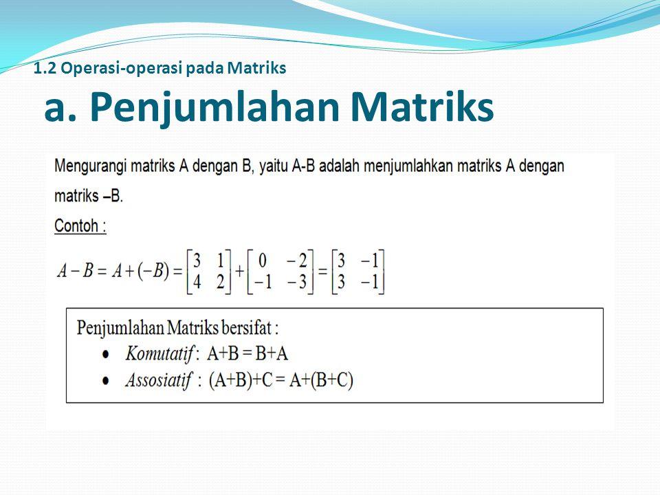 1.2 Operasi-operasi pada Matriks a. Penjumlahan Matriks