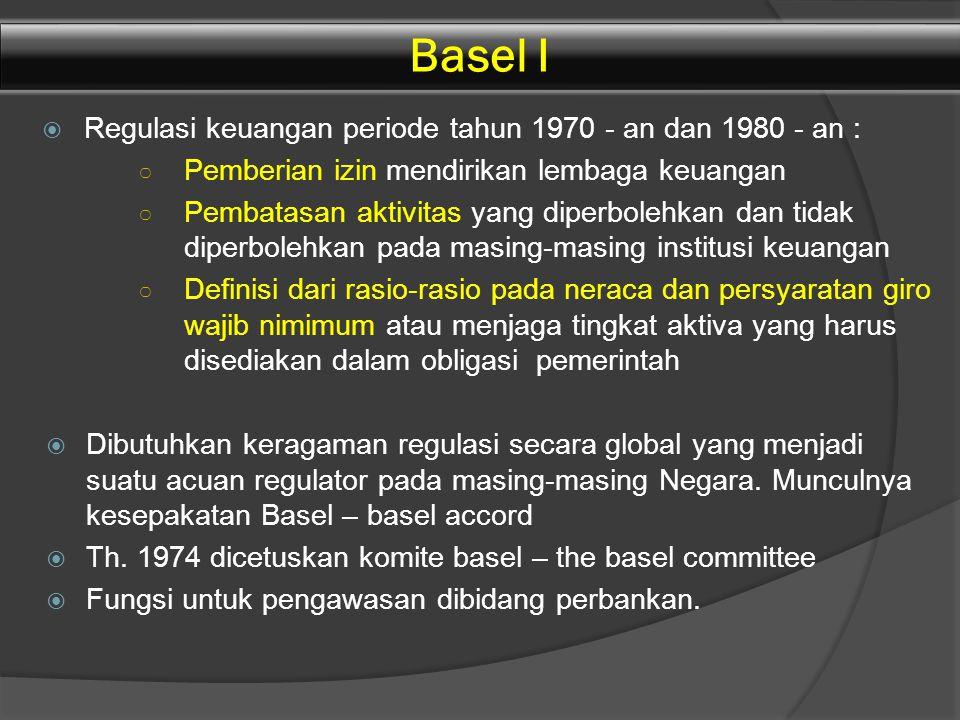 Basel I Regulasi keuangan periode tahun 1970 - an dan 1980 - an :