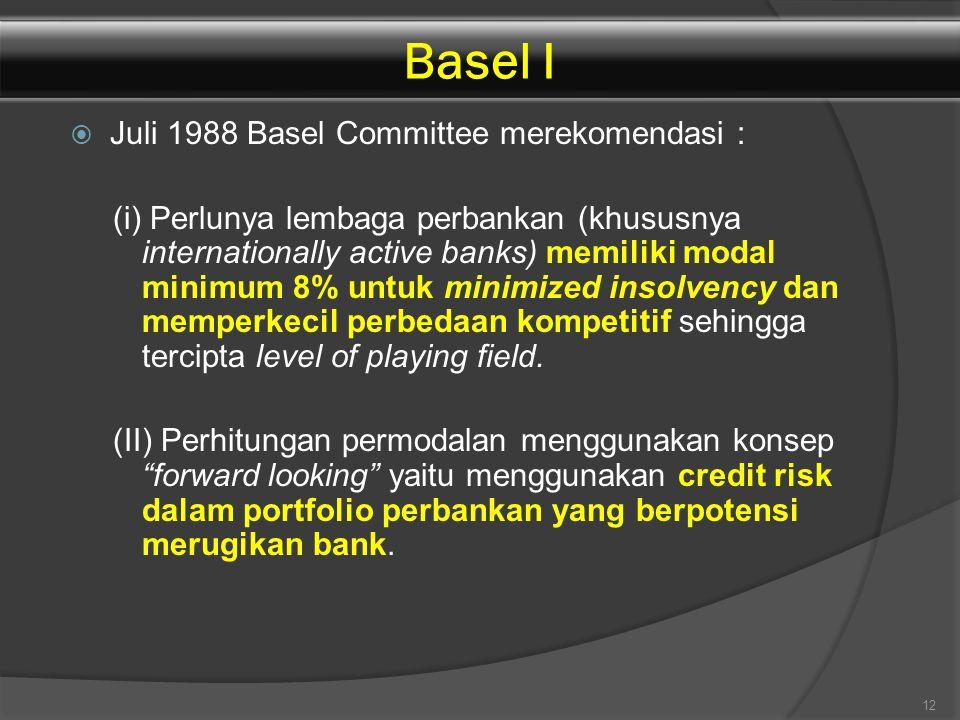 Basel I Juli 1988 Basel Committee merekomendasi :
