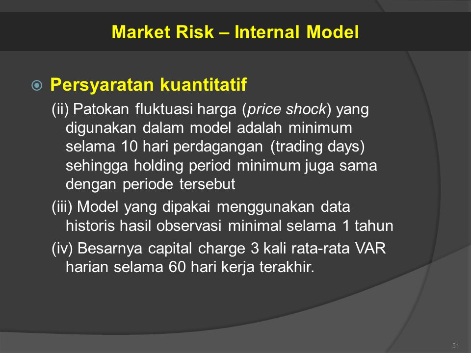 Market Risk – Internal Model