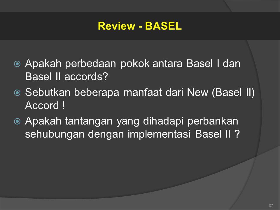 Review - BASEL Apakah perbedaan pokok antara Basel I dan Basel II accords Sebutkan beberapa manfaat dari New (Basel II) Accord !