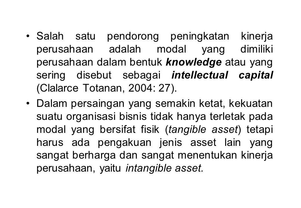 Salah satu pendorong peningkatan kinerja perusahaan adalah modal yang dimiliki perusahaan dalam bentuk knowledge atau yang sering disebut sebagai intellectual capital (Clalarce Totanan, 2004: 27).