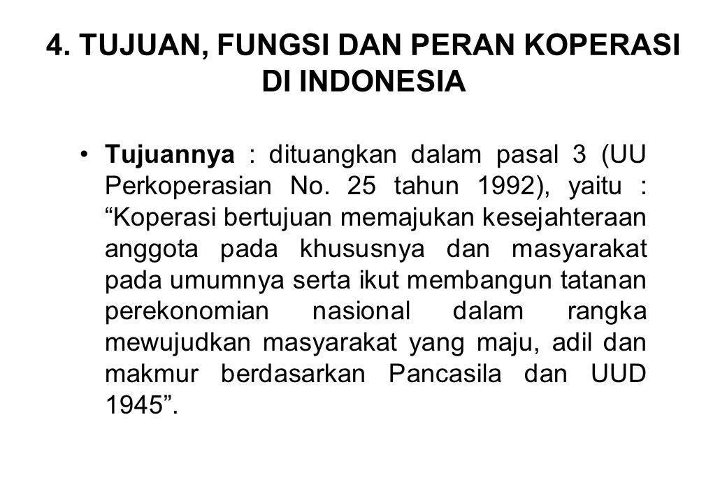 4. TUJUAN, FUNGSI DAN PERAN KOPERASI DI INDONESIA