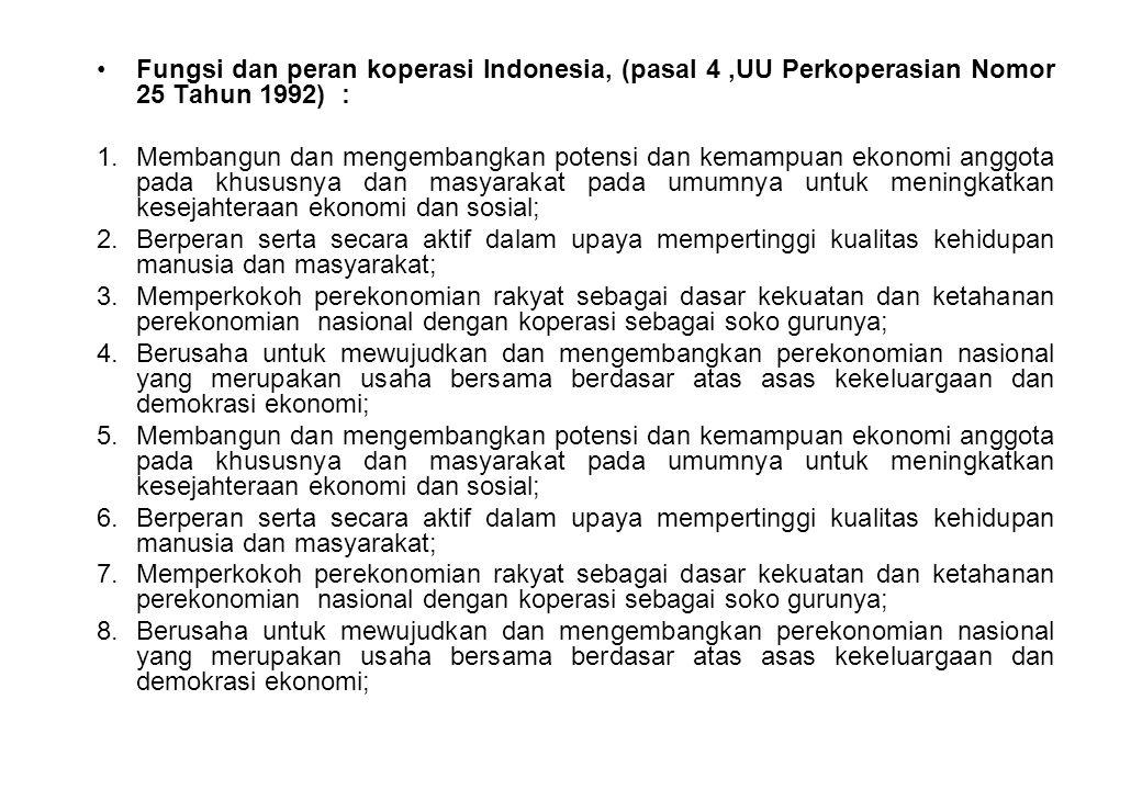 Fungsi dan peran koperasi Indonesia, (pasal 4 ,UU Perkoperasian Nomor 25 Tahun 1992) :
