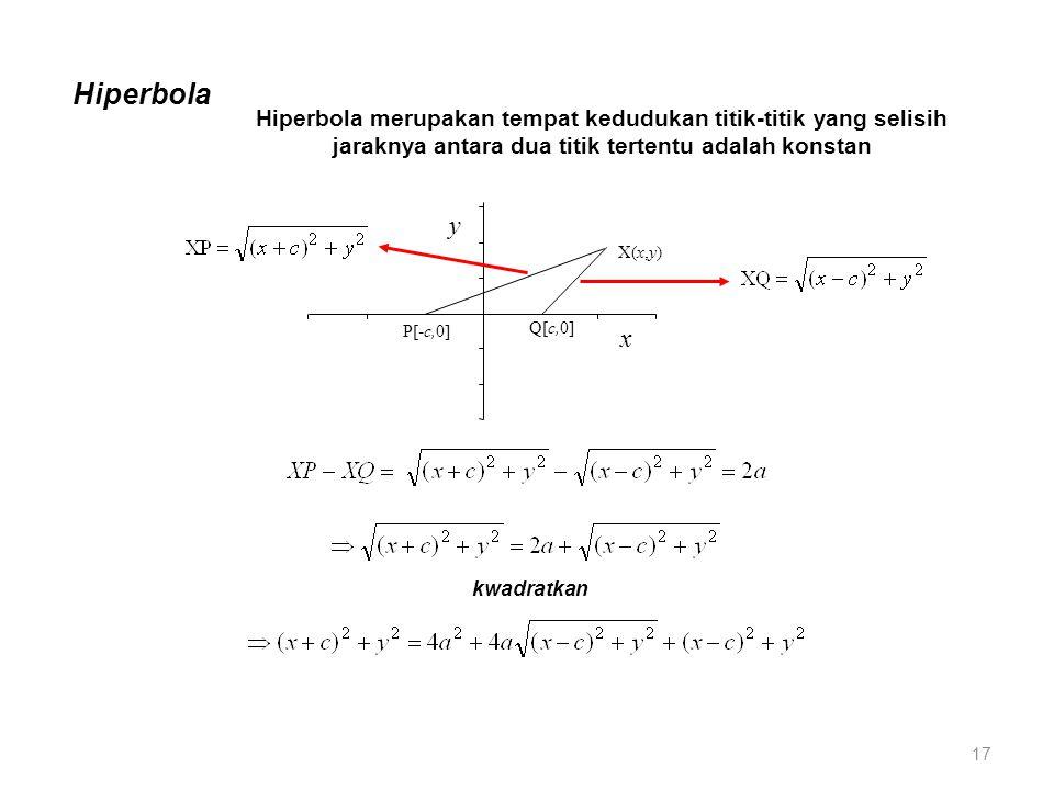 Hiperbola Hiperbola merupakan tempat kedudukan titik-titik yang selisih jaraknya antara dua titik tertentu adalah konstan.