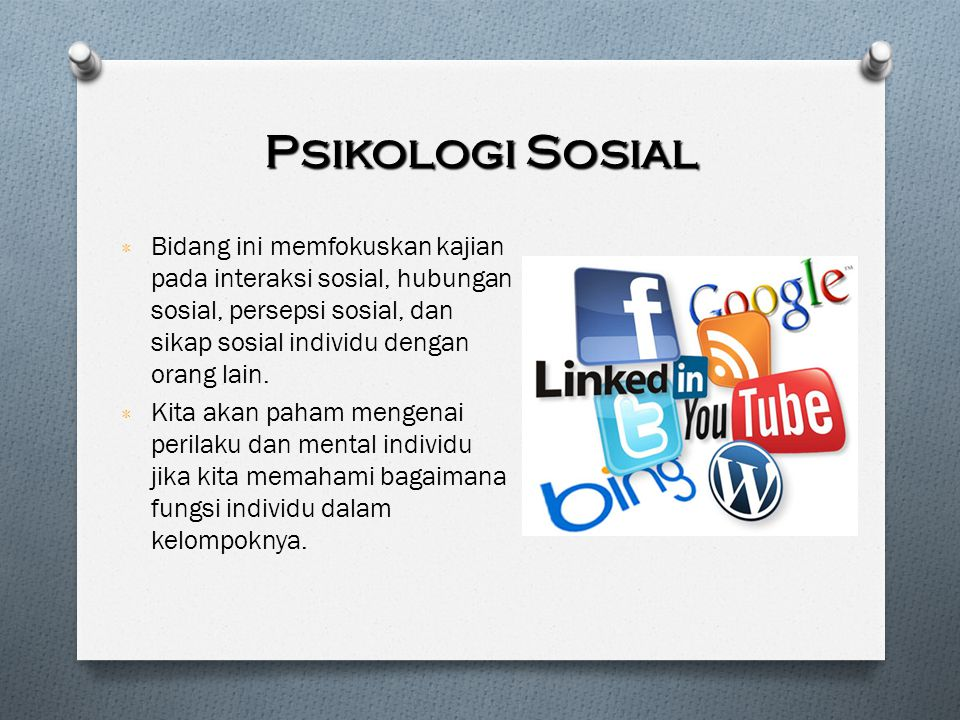 Psikologi Sosial Bidang ini memfokuskan kajian pada interaksi sosial, hubungan sosial, persepsi sosial, dan sikap sosial individu dengan orang lain.
