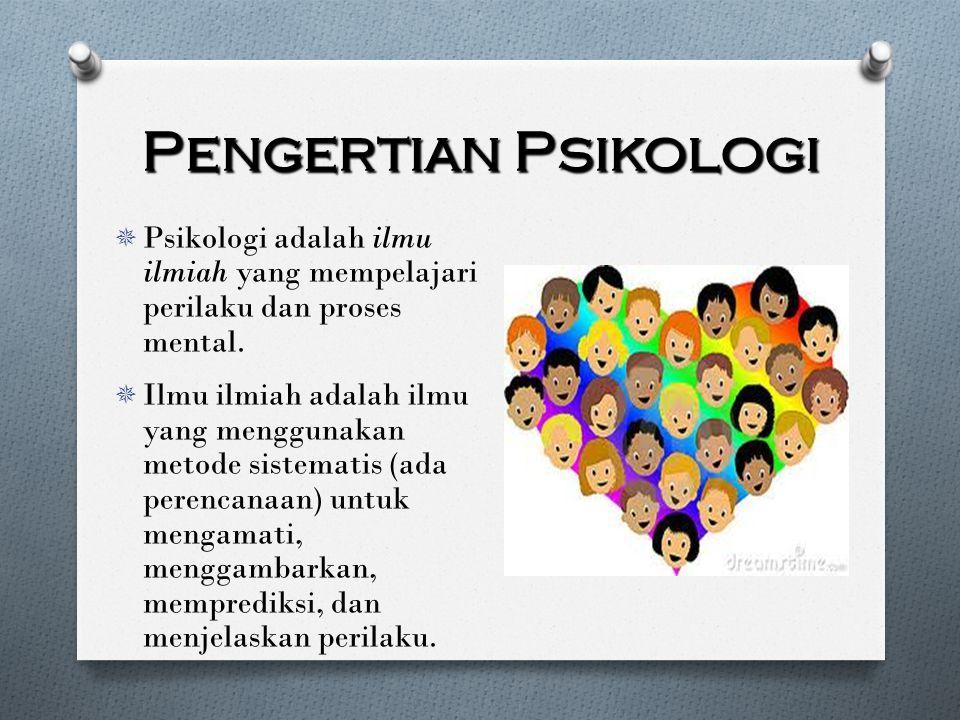 Pengertian Psikologi Psikologi adalah ilmu ilmiah yang mempelajari perilaku dan proses mental.