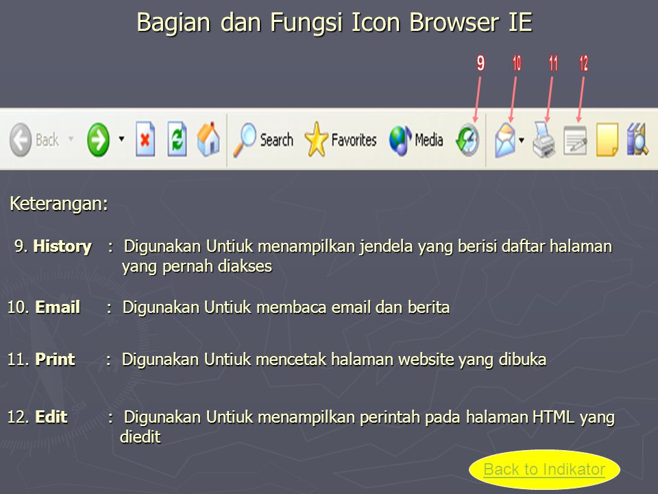 Bagian dan Fungsi Icon Browser IE