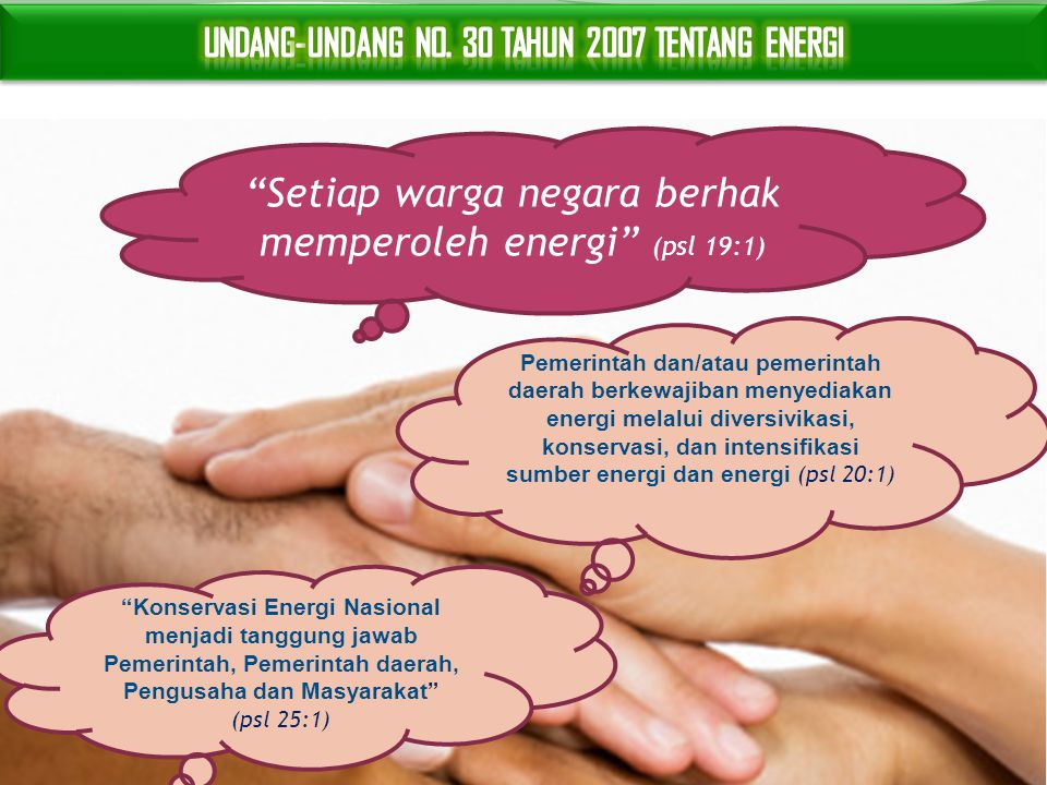 Setiap warga negara berhak memperoleh energi (psl 19:1)