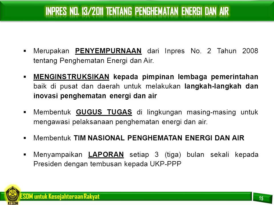 INPRES NO. 13/2011 TENTANG PENGHEMATAN ENERGI DAN AIR