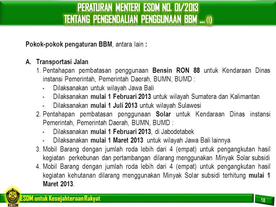 PERATURAN MENTERI ESDM NO. 01/2013 TENTANG PENGENDALIAN PENGGUNAAN BBM