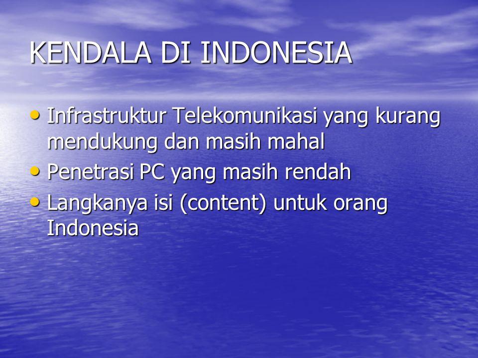 KENDALA DI INDONESIA Infrastruktur Telekomunikasi yang kurang mendukung dan masih mahal. Penetrasi PC yang masih rendah.