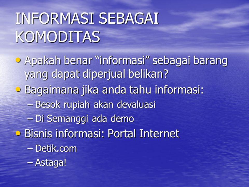 INFORMASI SEBAGAI KOMODITAS