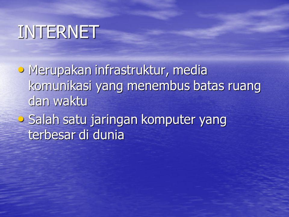 INTERNET Merupakan infrastruktur, media komunikasi yang menembus batas ruang dan waktu.
