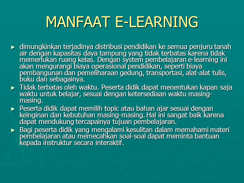 MANFAAT E-LEARNING