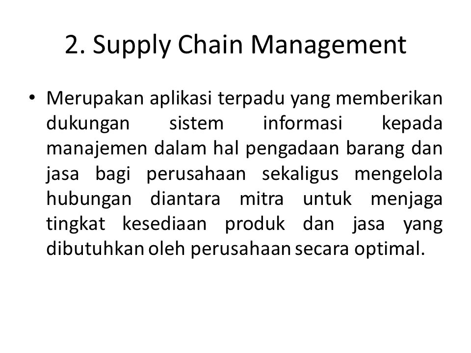 2. Supply Chain Management